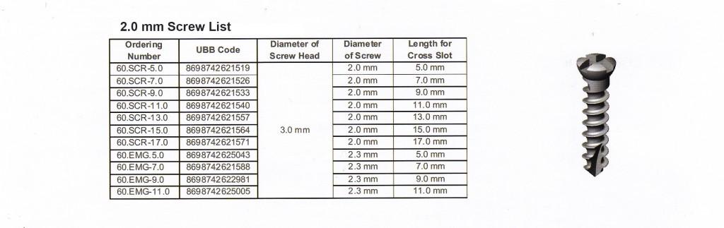 2 mm Screw List